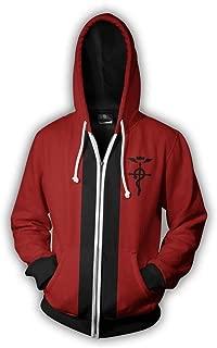 VOSTE Edward Elric Costume Anime Cosplay Hoodie 3D Printed Zipper Jacket
