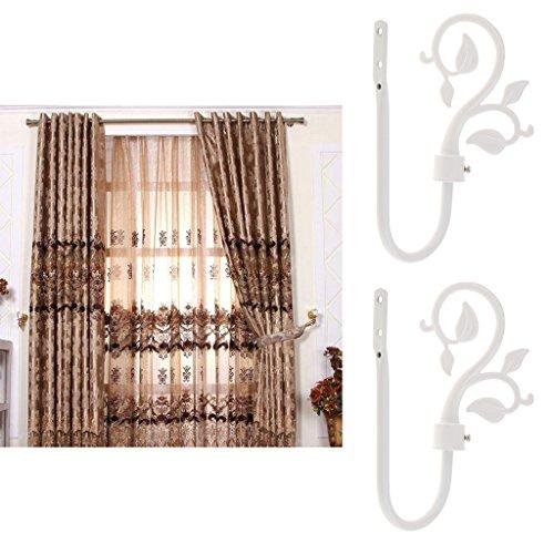 2X Tree Vine Leaf Design Metal Curtain Hooks Window Drapery Holder Tieback Holdback Hanger for Home Decor - White