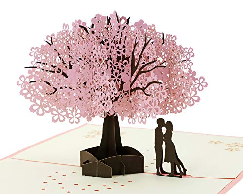 Penta Angel Handmade Cherry Blossom Card Pop Up 3D Flower Card Romantic Love Letter Greeting Anniversary Wedding Valentine Birthday Gift Card Blank Stationery Paper Card for Her Him Husband Wife