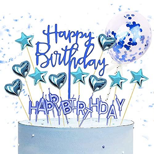 Cake Topper,13pcs Happy Birthday tortenstecker,Glitter Geburtstag Kuchen Topper,Geburtstagskuchen Deko,Happy Birthday Banner Girlande,Geburtstagsdeko,Tortendeko,Kuchendeko (B, Blau)