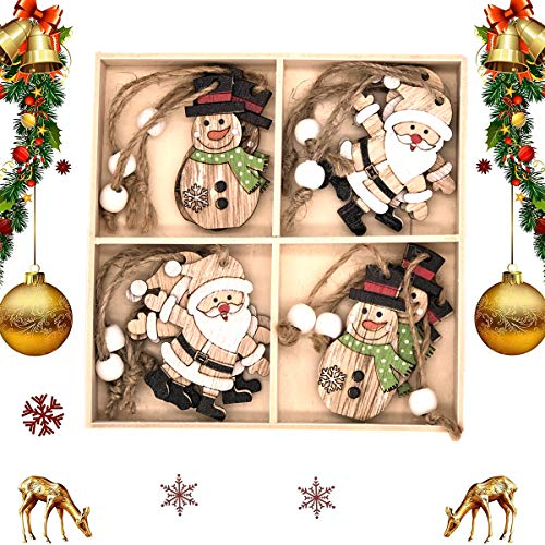 QIMMU 12PCS Wooden Christmas hanging pendants,Wooden Christmas Tree Ornaments,Wooden xmas tree ornament, for DIY Wood Crafts Christmas Decoration with Wooden Storage Box (1)