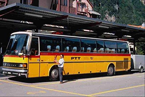 Metalen bord 581098 Zwitserse Setra Post Bus Met Aanhangwagen Meiringen 1995 A4 12x8 Aluminium
