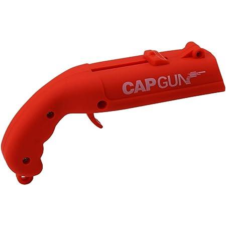 Tishare Cap Gun Abridor de botellas con tratamiento esmerilado, lanzador de armas de plástico dispara más de 5 metros para beber cerveza fiesta (rojo)