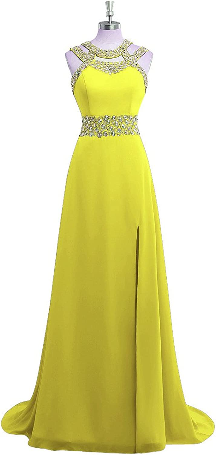 ORIENT BRIDE Women's Evening Dress with Split Prom Gown Crystal