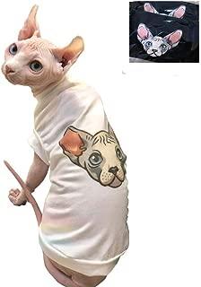 Khemn Luxury 丨HANDMADE 丨100% Cotton Skin-Friendly Cute Sphynx-Head Cat Shirt Cat Vest Cat Clothes -Best for Hairless Cat, 5 Colors