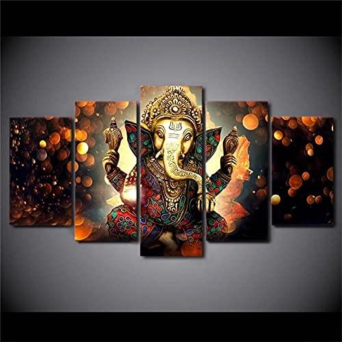 BHJIO 5 Piezas Cuadros Modernos Impresión De Imagen Artística Digitalizada Lienzo Decorativo para Tu Salón O Dormitorio Dios Elefante Ganesha Regalo 150 X 80 Cm.