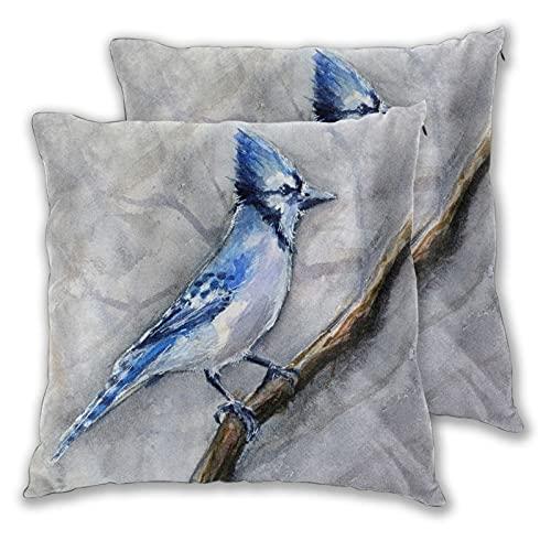 TISAGUER Juego de 2 Fundas de cojín 45x45cm,Animal Blue Bird Birds Painting Jay Blue Jay Animales Acuarela,Cuadrado Decorativa Funda de Almohada Sofá Sillas Cama Throw Cojín Decoración para Hogar