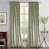 Roslynwood Super Soft Luxury Velvet Set of 2 Light Green Blackout Velvet Energy Efficient Rod Pocket Curtain Panel Drapes Ginger 52Wx84L(2 Panels)