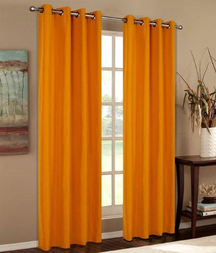 Vorhang Blickdicht Schal, 2 Stück 245x140 (HxB) Matte unifarbene Gardine mit Ösen, Orange Material aus Microsatin Micofaser-Gewebe, 204050