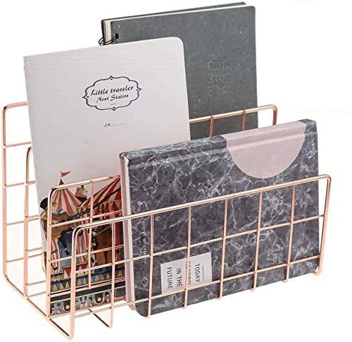 Wythe Bandeja de papel de color oro rosa para escritorio, organizador de 3 compartimentos, organización hecha a mano, bandeja de metal decorativa para sobres, documentos, periódicos (oro rosa)