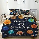 Juego de funda nórdica beige, planetas del espacio exterior y cúmulo de estrellas del sistema solar Luna y cometas Sun Cosmos, juego de cama decorativo de 3 piezas con 2 fundas de almohada Fácil cuida