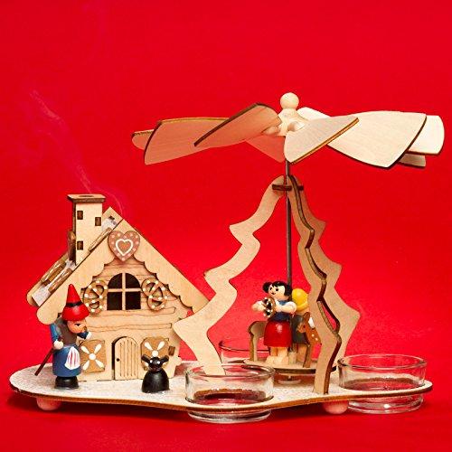 SIKORA P30 2-in-1 Holz Teelicht Weihnachtspyramide mit funktionsfähigem Räucherhaus Motiv Hexenhaus