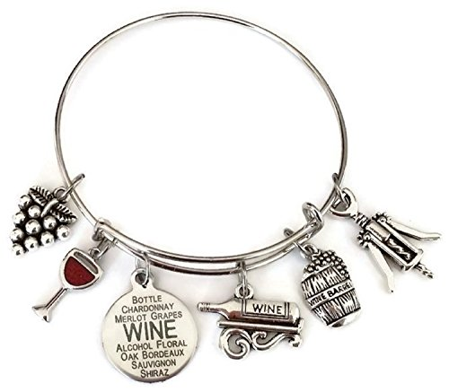 Kit's Kiss Wine bracelet, Wine jewelry, gift for wine lover, wine charm bracelet, Grape, Red Wine glass, Wine Opener, Wine Barrel, Wine Bottle, Wine gift, Wine bangle bracelet