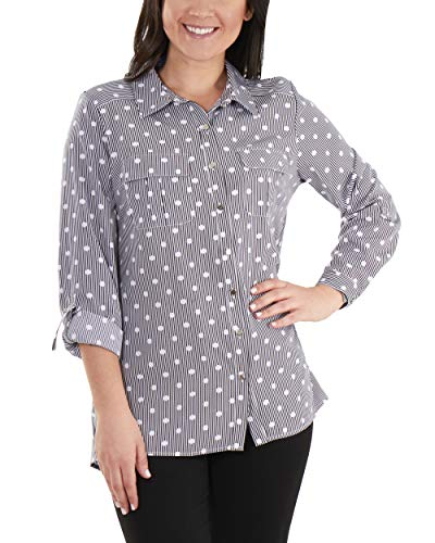 NY Collection 3/4 Roll Tab Sleeve High-Low Button Down Blouse