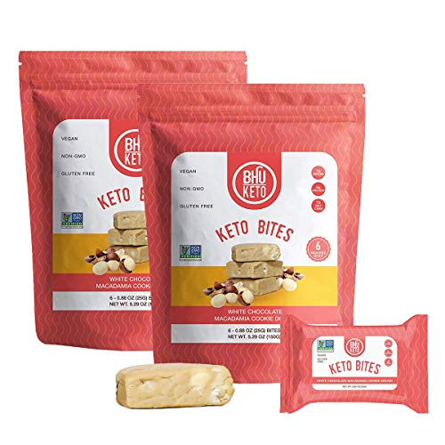 BHU Keto Bites - 1g Net Carb, 1g Sugar - Organic Keto Snack made with Clean, Gluten Free Ingredients - 6 Individually Wrapped Snacks per Bag, 2 Bags (White Chocolate Macadamia Cookie Dough)