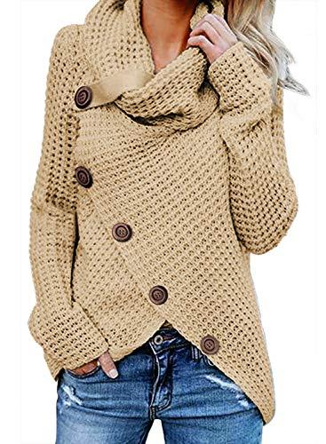 FIYOTE Damen Winterjacke Warm Strickjacke Rollkragen Cardigan Strickpullover Casual Wrap Wickel Pullover Sweater 7 Farbe S/M/L/XL/XXL, 1-beige, S
