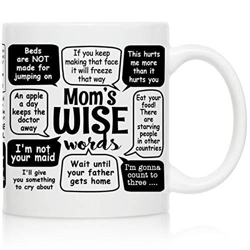 Jopath Taza de café con texto en inglés 'Mam's Wise Words', regalo ideal para madres, regalo para madres, regalo divertido de cumpleaños para mamá de hija, Son-one_color-