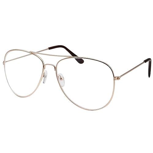 45bfbf61b5 WebDeals(TM) - Clear Lens Aviator Eyeglasses Classic Mirror Retro Metal  Frame…