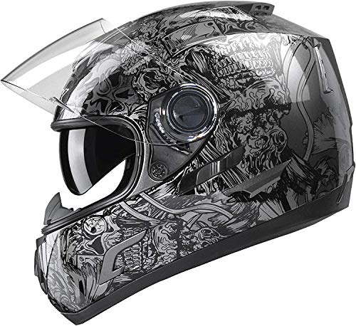 GLX Unisex-Adult GX15 Lightweight Full Face Motorcycle Street Bike Helmet with Internal Sun Visor DOT Approved (Skull, X-Large)