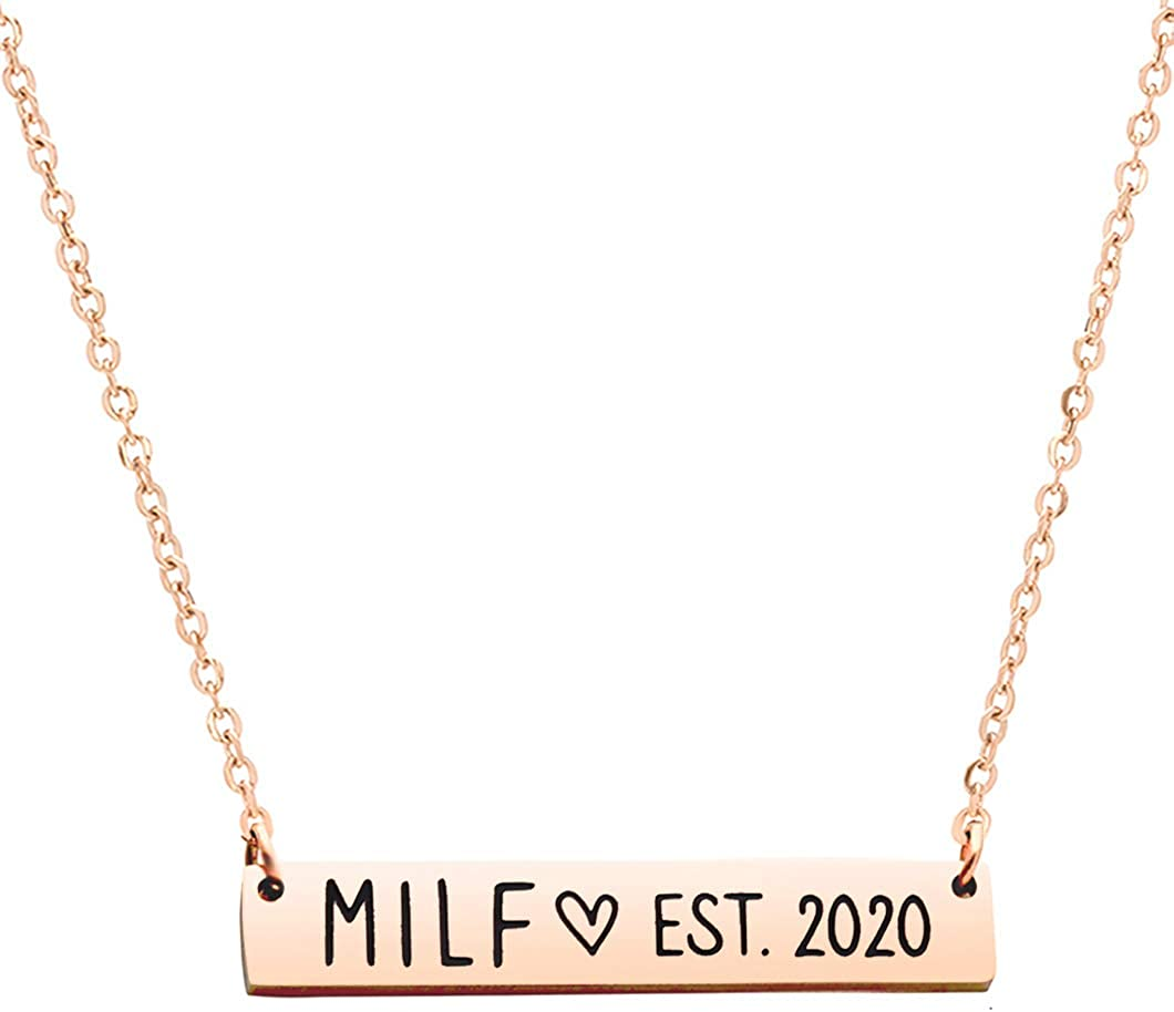Meibai Funny New Mom Gift Milf Est 2020 Bar Necklace Expecting Mother Gift Pregnancy Announcement Future Mom Pregnant Congratulations