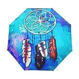 Paraguas azul con diseño de atrapasueños, estilo bohemio, hippie, para mujeres, niñas, hombres, cierre automático, pequeño, plegable, para lluvia y domingo, 3 unidades