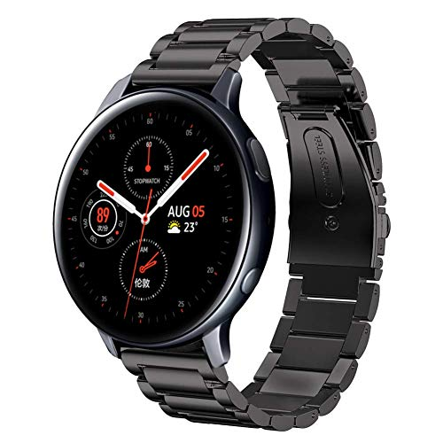 SUNDAREE Kompatibel mit Galaxy Watch Active2 42MM/44MM Armband,20MM Schwarz Metallarmband Armband Edelstahl Uhrenarmband Ersatz für Samsung Galaxy Watch Acitve2/Galaxy Watch Active(Active2 Black)
