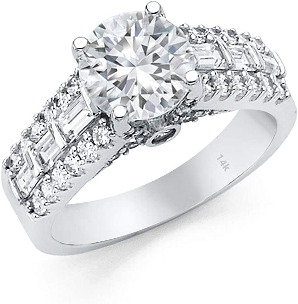 New Free Shipping TOUSIATTAR Engagement Ring -14K Gold Under blast sales Bril Band -Round Nice Rings