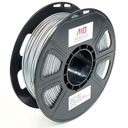 AIO Robotics Premium 3D Printer Filament, PLA Metall, 0,5 kg Spule, Durchmesser 1,75 mm, Metall Silber