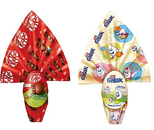 Offerta Pasqua 2020, Uovo cioccolato al latte KitKat con sopresa + Uovo di cioccolato bianco GALAK con sopresa, 2 x 210 gr