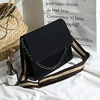 Adebie - Casual Pu Leather Crossbody Bags for Women Stripe Width Belt Chains Flap Bag Women Handbag Big Capacity Shoulder Bag Purses 2019 Gray []