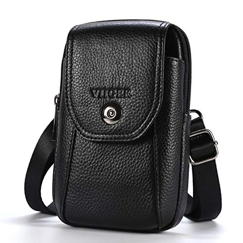 VIIGER Leather Small Crossbody Phone Case Cellphone Belt Holster Dual Pocket Belt Loop Pouch Bag with Clip Men Smartphone Belt Case Holder Mini Messenger Purse Compatible With iPhone 12 Pro Max, Black