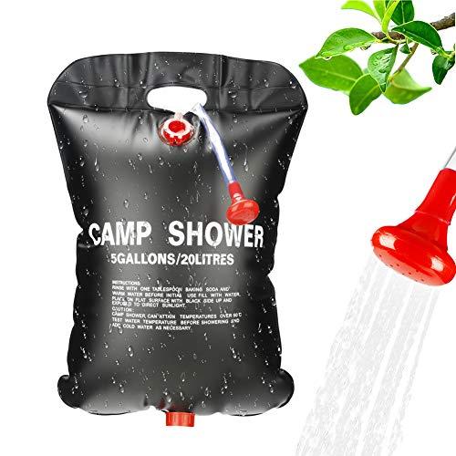 Punvot Solardusche, Campingdusche, 20L Solar Dusche Tasche Tragbare Outdoordusche Camping Dusche Set Warmwasser Duschsack Solar mit Duschkopf On-Off Switchable für Camping Wandern Garten Shower