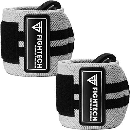 FIGHTECH Wrist Wraps for Weight Lifting 18 inch Professional Grade Wrist Support Braces for Weightlifting, Crossfit and Strength Training   for Men and Women (Gray, 18 inch)