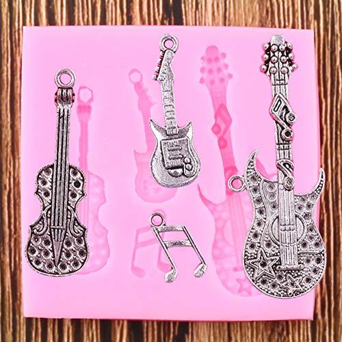 UNIYA Molde de Silicona con Forma de Guitarra, Herramientas de decoración de Pasteles para Fiestas DIY, moldes de Arcilla de Resina de Caramelo de Chocolate y Galletas para Hornear Fondant
