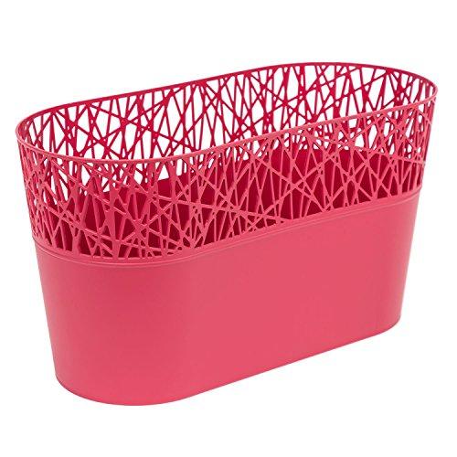 Ovale cache-pot CITY 28.5 cm en plastique romantique style, en framboise
