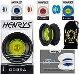 Henrys Cobra YoYo - Set Profesional de YoYo + Libro instructivo de Trucos + ¡Bolsa de Viaje! (Negro / Amarillo)