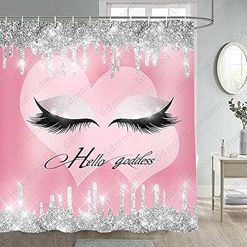 Gdmoon Eyelash Makeup Shower Curtain Silver Twinkle Twinkle Stars Glitter Fashion Pink Love Background Girl Cute Princess Colorful Abstract Art Bathroom Curtain Set with 12 Hooks 72x72In YLHHGD1