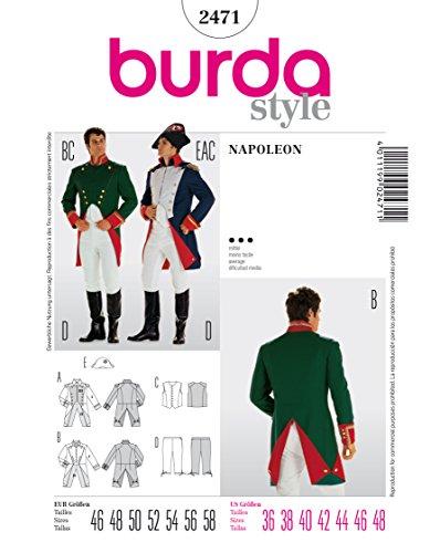Burda 2471 Schnittmuster KostŸm Fasching Karneval Napoleon Offizier (Herren, Gr, 46-58) Level 3 mittel