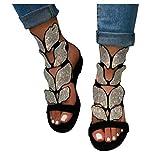 Aniywn Women Flat Sandals,Women's Crystal Open Toe Rhinestone Ankle Strap Sandals Slip-On Low Heel Shoes Black