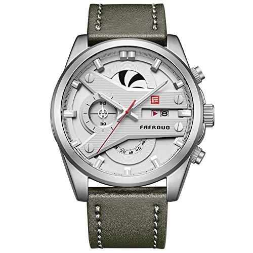 FAERDUO Orologio Quadrante Grande Cronografo Quarzo Uomo con Cinturino in Pelle FA-F8228M