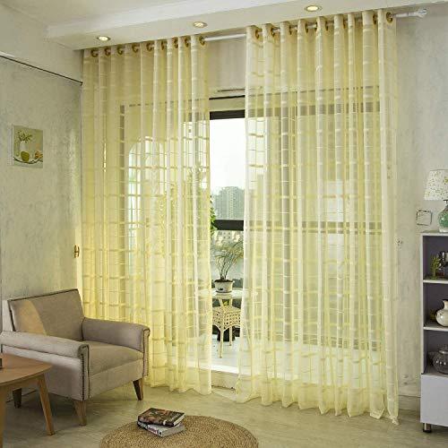 Voile gordijnen Jacquard Clear met oogjes Gordijnen eenvoudig en modern stijl zachte ademend Slaapkamer transparant gordijn voor grote ramen 1 stuk,Yellow,200X270cm