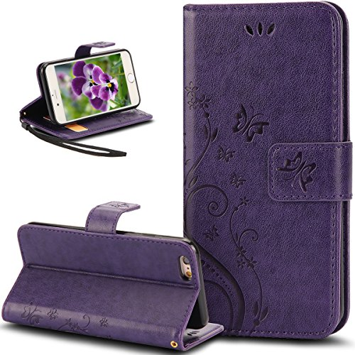 iPhone 6S Plus Case,iPhone 6 Plus Case,NSSTAR Butterfly Flower PU Leather Fold Wallet Pouch Case Premium Leather Wallet Flip Stand Credit Card ID Holders Case Cover for iPhone 6S/6 Plus 5.5