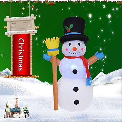 QTRT Christmas Inflatable Decoration, Snowman Blow Up Yard Ornament with Rotating Multicolor LED Lights for Funny Xmas Holiday Party Home Indoor Outdoor Garden Scene Decoration