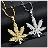 Naomi 18K Gold Plated Iced Out Weed Marijuana Leaf Pot Diamond Pendant Necklace Snake Chain Gold one Size