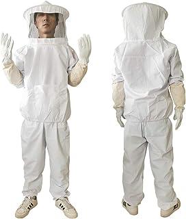 Giyomi 養蜂用 蜂防護服 蜂駆除 フェイスネット付 上下服 & 手袋 3点セット 蜂巣 害虫駆除 虫除け 鉄壁ガード 作業服