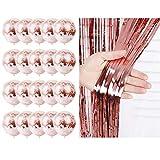 2 Paquete Cortina de Oropel Oro Rosa + 20 Piezas de Globos de Lentejuelas de Oro Rosa, Globos de Látex para Fiesta con Puntos de Plástico con Purpurina,para Bodas Aniversario Fiestas Decoraciones