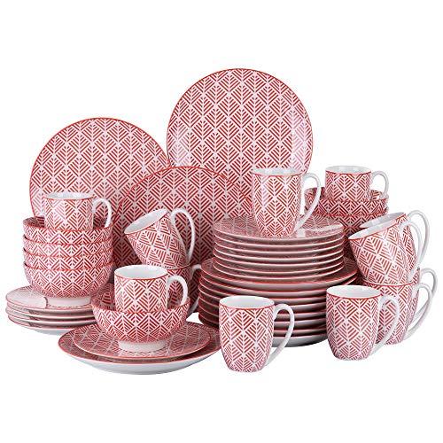 vancasso Momoko Vajillas de Porcelana 48 Piezas Servicio Combinacion con 12 Tazas de Desayuno/Cuencos/Platos/Bandejas para 12 Personas