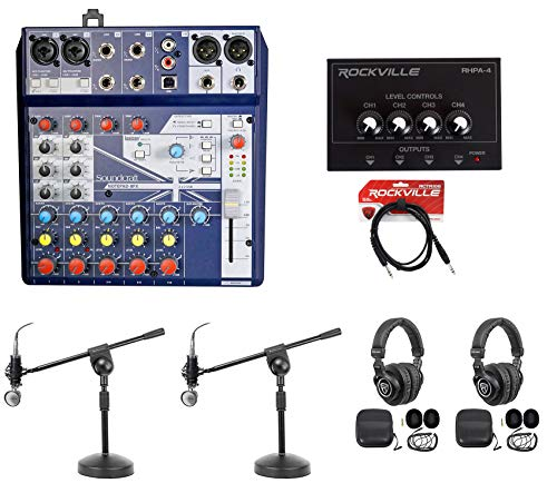 2) Person Podcasting Podcast Bundle w/Soundcraft Mixer+Headphones+Mic+Boom Stand