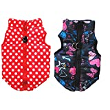 Yikeyo 2 Pack Winter Small Dog Girl Coat with Harness Hole Puppy Jacket Vest Polka Dot Cute Pattern Warm Clothes for Cold Weather xs ~ XL (Polka Dot + Black, X-Small)
