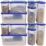 NOBRAND Contenedor de plástico para Alimentos - 12 Piezas (12 contenedores y 12 Tapas de Cajas) Tapa Transparente - sin BPA - para el hogar, Cocina o Comedor